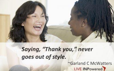 "Saying, ""Thank you."""